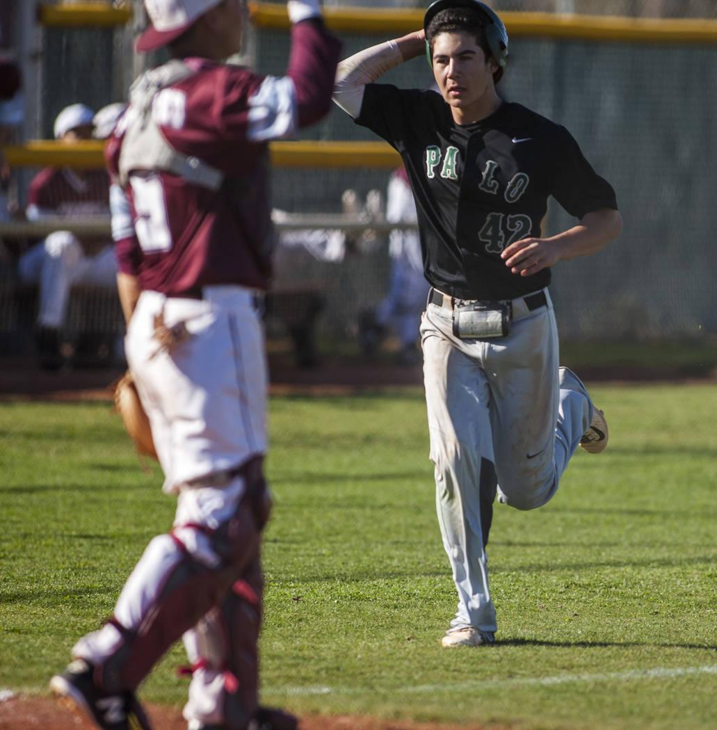 Palo Verde's Josiah Cromwick runs toward home at Cimarron-Memorial High School on Wednesday, March 14, 2018. Palo Verde won 12-8.  Patrick Connolly Las Vegas Review-Journal @PConnPie