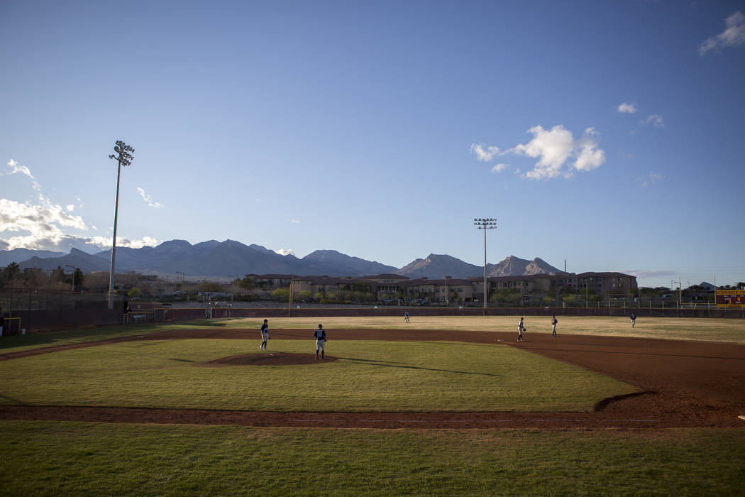 Centennial takes the field while playing against Faith Lutheran at Faith Lutheran High School in Las Vegas on Thursday, March 15, 2018. Centennial won 4-3 in the 10th inning.  Patrick Connolly Las ...