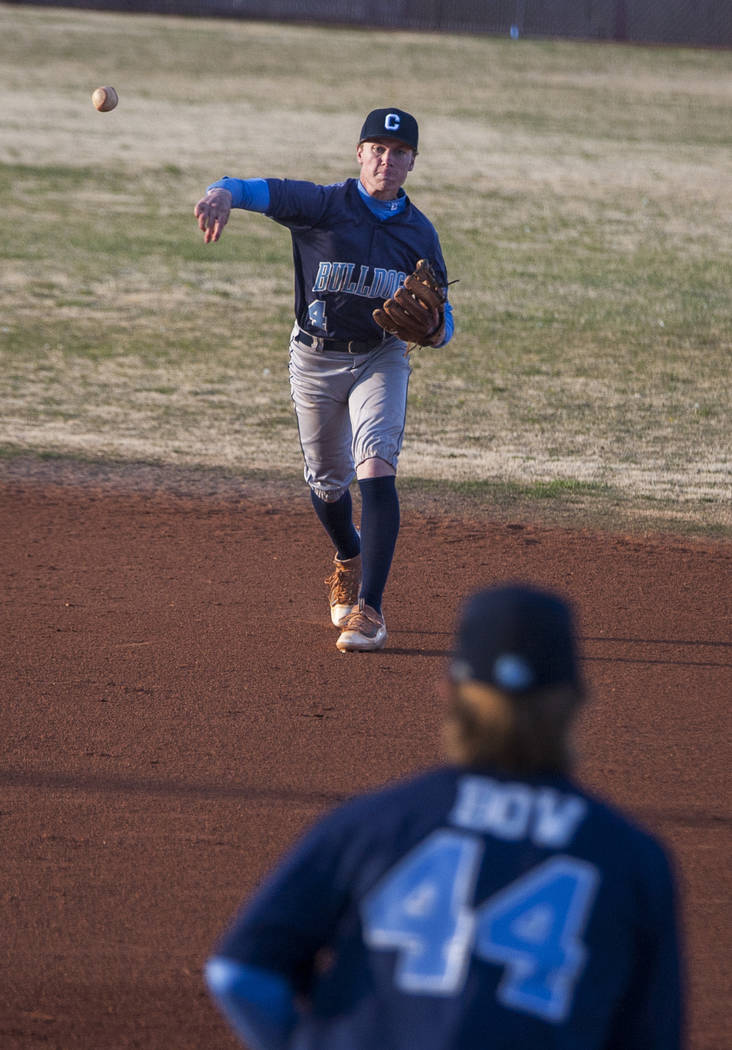 Centennial infielder Kian Wilbur throws to first baseman Kris Bow to make a play at first during the bottom of the ninth inning against Centennial at Faith Lutheran High School in Las Vegas on Thu ...