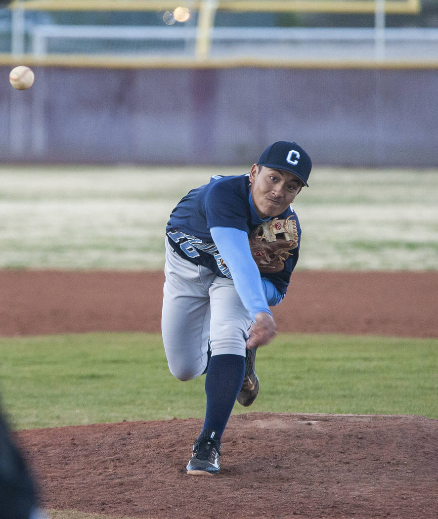 Centennial pitcher Nate Martin pitches during the bottom of the tenth inning at Faith Lutheran High School in Las Vegas on Thursday, March 15, 2018. Centennial won 4-3 in the 10th inning.  Patrick ...