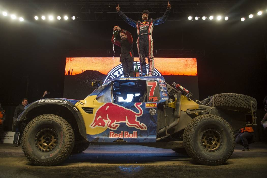 Bryce Menzies celebrates after winning his second overall title in the Mint 400 off-road race. (Courtesy: Mint 400)