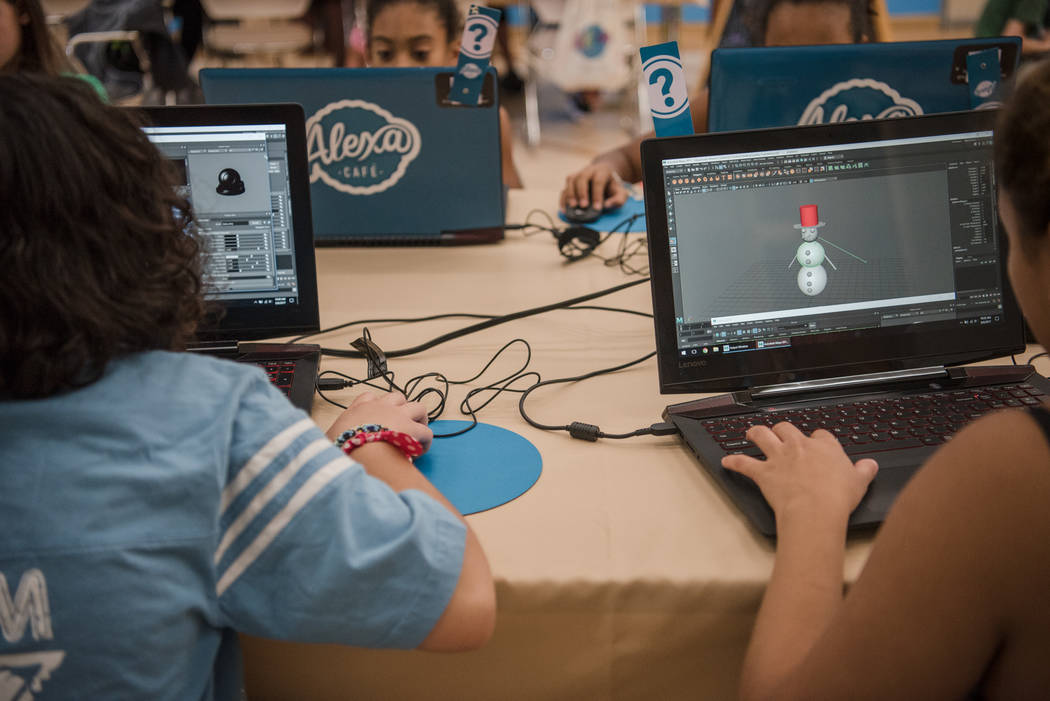 Participants work on 3-D models of snowmen during Alexa Cafe, an all-girls tech camp, at Girl Scouts of Southern Nevada on Tuesday, Aug. 8, 2017, in Las Vegas. (Morgan Lieberman/Las Vegas Review-J ...