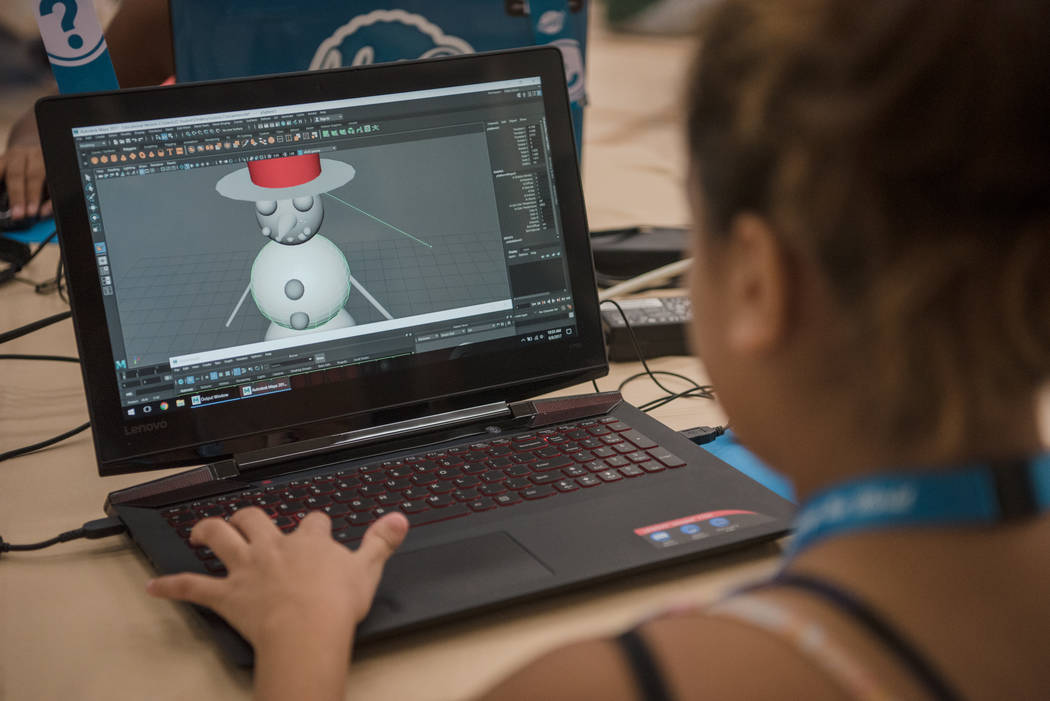 A 3-D model of a snowman in progress during Alexa Cafe at Girl Scouts of Southern Nevada on Tuesday, Aug. 8, 2017, in Las Vegas. (Morgan Lieberman/Las Vegas Review-Journal)