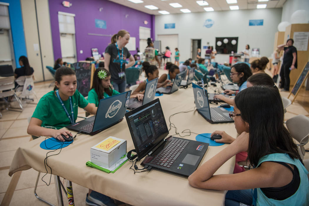 The 3-D modeling station during Alexa Cafe, an all-girls tech camp, at the Girl Scouts of Southern Nevada on Tuesday, Aug. 8, 2017, in Las Vegas. (Morgan Lieberman/Las Vegas Review-Journal)