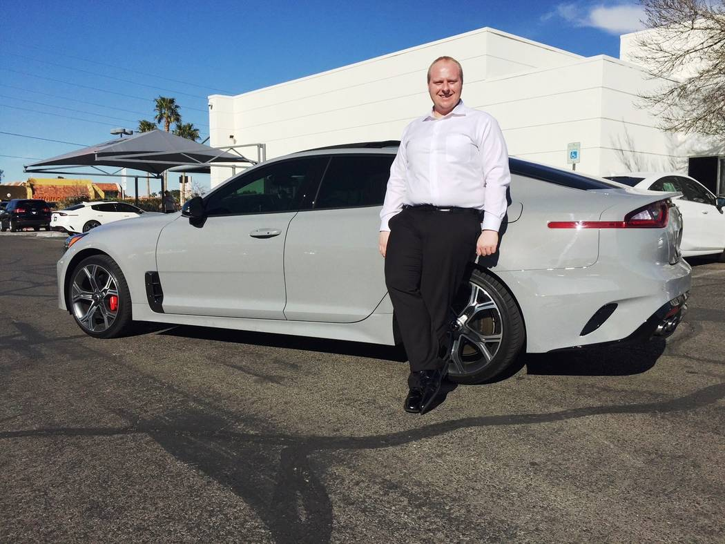 Findlay Findlay Kia general sales manager Mark Olson is seen with his 2018 Kia Stinger at the dealership at 5325 W. Sahara Ave. Olson was the first person to buy a 2018 Stinger in Las Vegas.