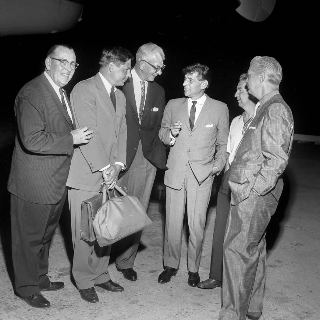 Conductor Leonard Bernstein, center, meets Las Vegans prior to conducting the New York Philharmonic at the Las Vegas Convention Center Aug. 28. 1960. (Jerry Abbott/Las Vegas News Bureau)
