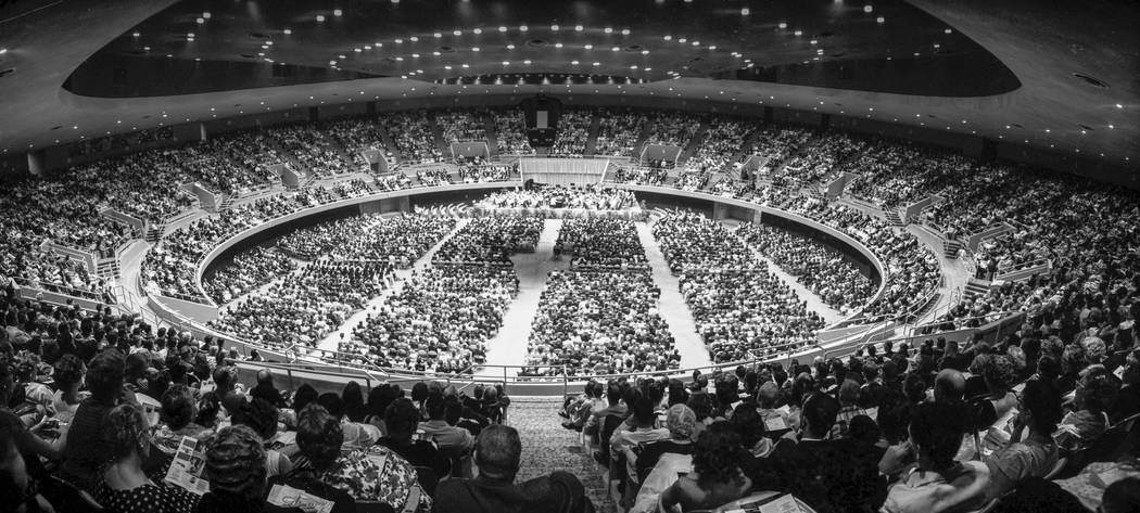 The New York Philharmonic, conducted by Leonard Bernstein, performs at the 7,000-seat Las Vegas Convention Center Rotunda Aug. 28. 1960. (Jerry Abbott/Las Vegas News Bureau)