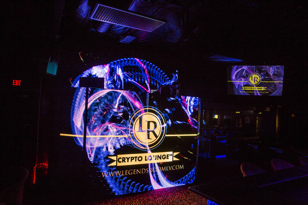 """The """"Crypto Lounge"""" at the Legends Room in Las Vegas on Wednesday, March 21, 2018. Patrick Connolly Las Vegas Review-Journal @PConnPie"""