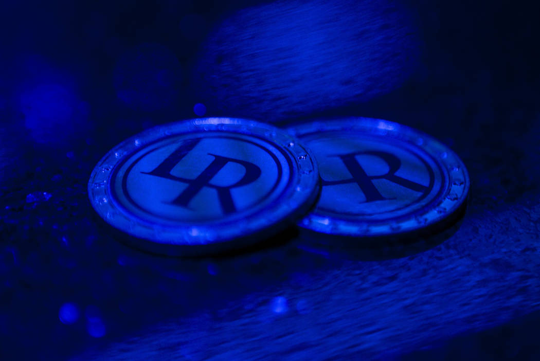 Physical coins are used as props to represent virtual currency at the Legends Room in Las Vegas on Wednesday, March 21, 2018. Patrick Connolly Las Vegas Review-Journal @PConnPie