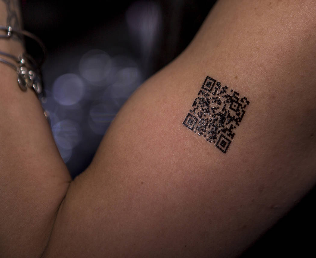 Customers can pay for services using QR code temporary tattoos and virtual currency at the Legends Room in Las Vegas on Wednesday, March 21, 2018. Patrick Connolly Las Vegas Review-Journal @PConnPie