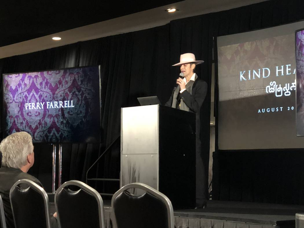 Perry Farrell of Jane's Addiction announces Kind Heaven, an entertainment and restaurant attraction with a Southeast Asia theme opening in August 2019 at the Linq, on Tuesday, March 13, 2018. (Joh ...