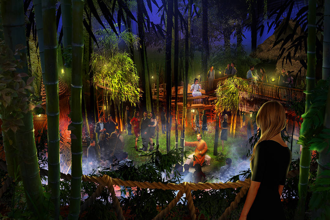 A look at Forest Courtyard at Kind Heaven, an entertainment and restaurant attraction with a Southeast Asia theme opening in August 2019 at the Linq. (Kind Heaven)