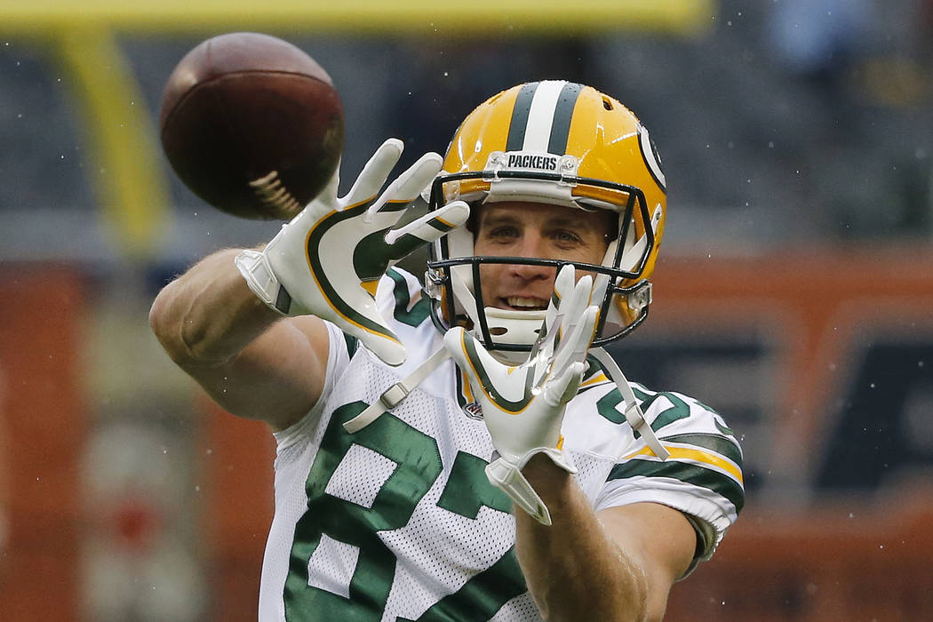 In this Nov. 12, 2017, file photo, Green Bay Packers wide receiver Jordy Nelson warms up before an NFL football game against the Chicago Bears in Chicago. (AP Photo/Charles Rex Arbogast, File)
