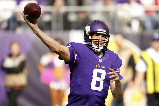 Minnesota Vikings quarterback Sam Bradford throws a pass during the second half of an NFL football game against the Houston Texans Sunday, Oct. 9, 2016, in Minneapolis. (AP Photo/Andy Clayton-King)