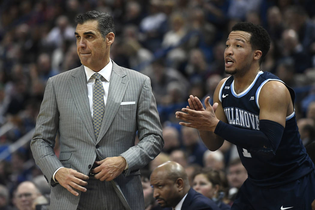 Villanova head coach Jay Wright, left, and Villanova's Jalen Brunson during the second half of an NCAA college basketball game against Connecticut, Saturday, Jan. 20, 2018, in Hartford, Conn. (AP  ...