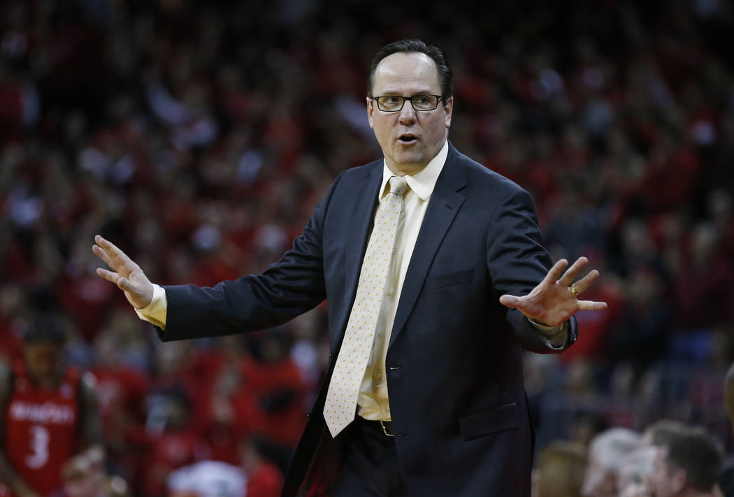 Wichita State head coach Gregg Marshall directs his team during the second half of an NCAA college basketball game against Cincinnati, Sunday Feb. 18, 2018, in Highland Heights, Ky. Wichita State  ...