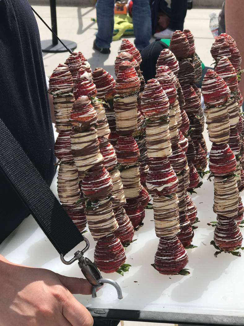 Chocolate covered strawberry and banana skewers at Salt River Fields in Arizona. Bill Bradley Las Vegas Review-Journal
