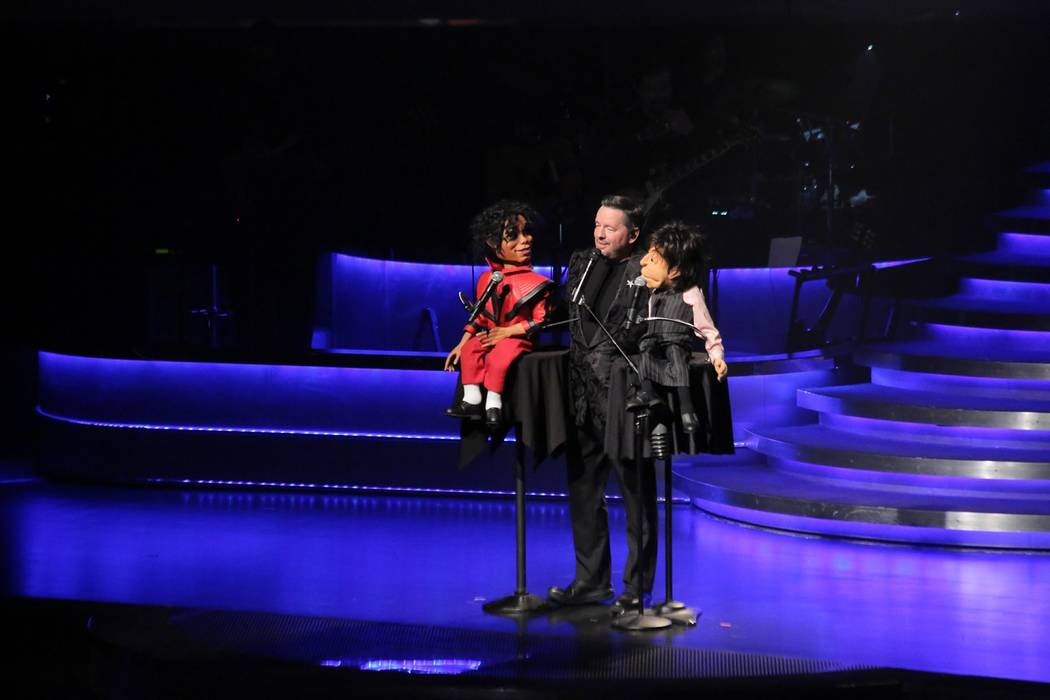 Terry Fator, middle, is shown with puppets representing Michael Jackson and Paul McCartney at his ninth-anniversary show at The Mirage on Monday, Dec. 12, 2018. (Edison Graff)