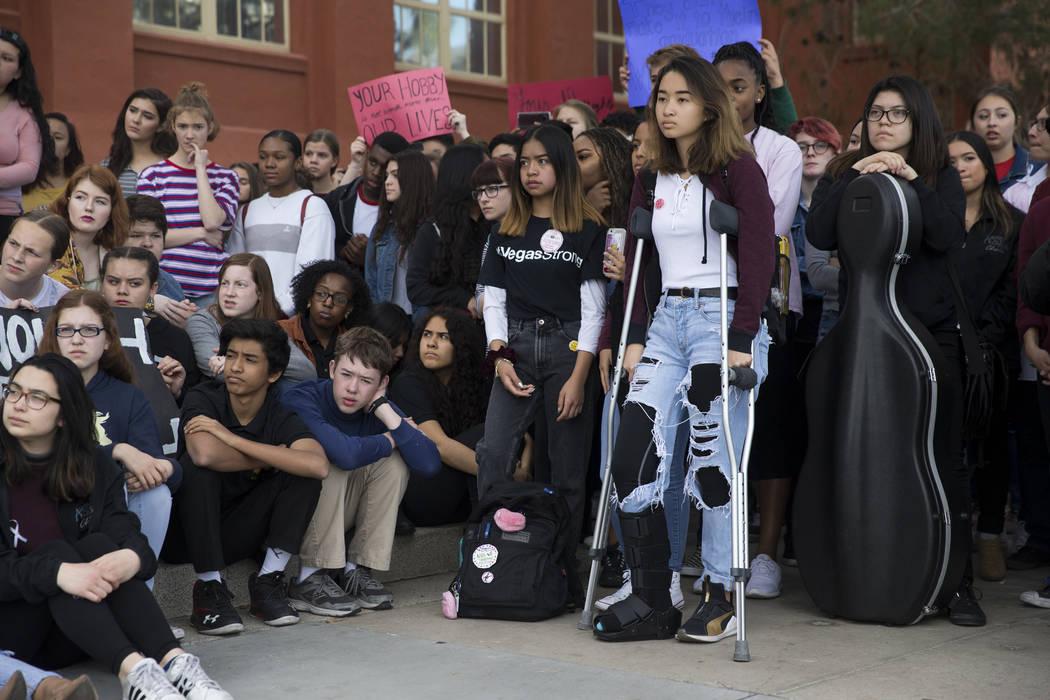 Students participate in the national walkout to protest gun violence, at Las Vegas Academy in Las Vegas, Wednesday, March 14, 2018. Erik Verduzco Las Vegas Review-Journal @Erik_Verduzco