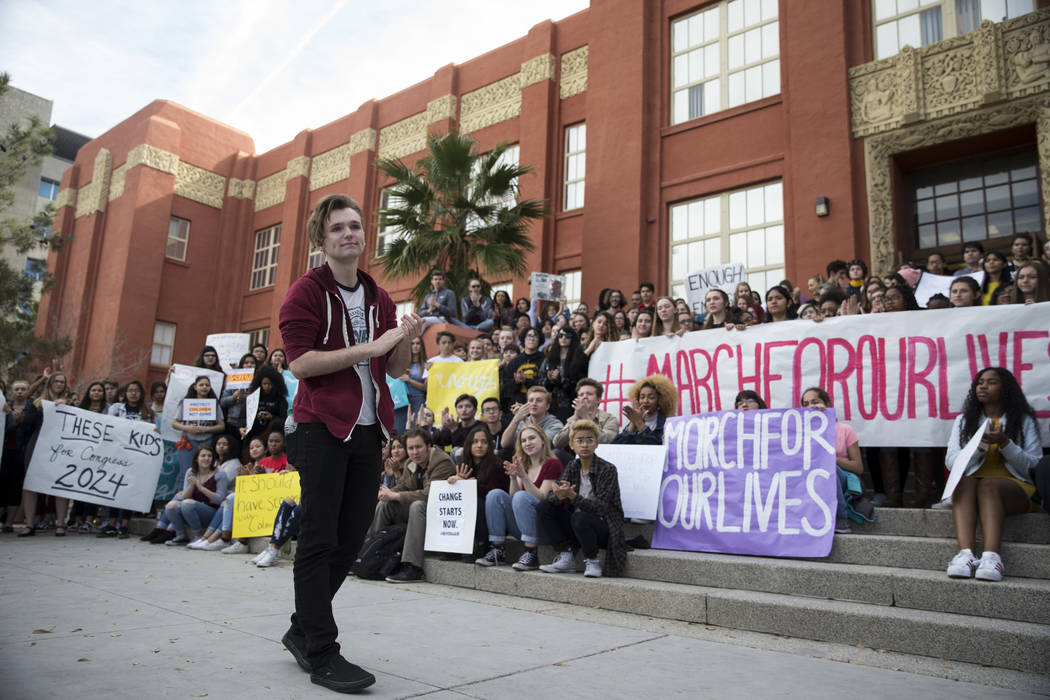 Jake Rouse, 18, rallies his fellow students participating in the national walkout to protest gun violence, at Las Vegas Academy in Las Vegas, Wednesday, March 14, 2018. Erik Verduzco Las Vegas Rev ...