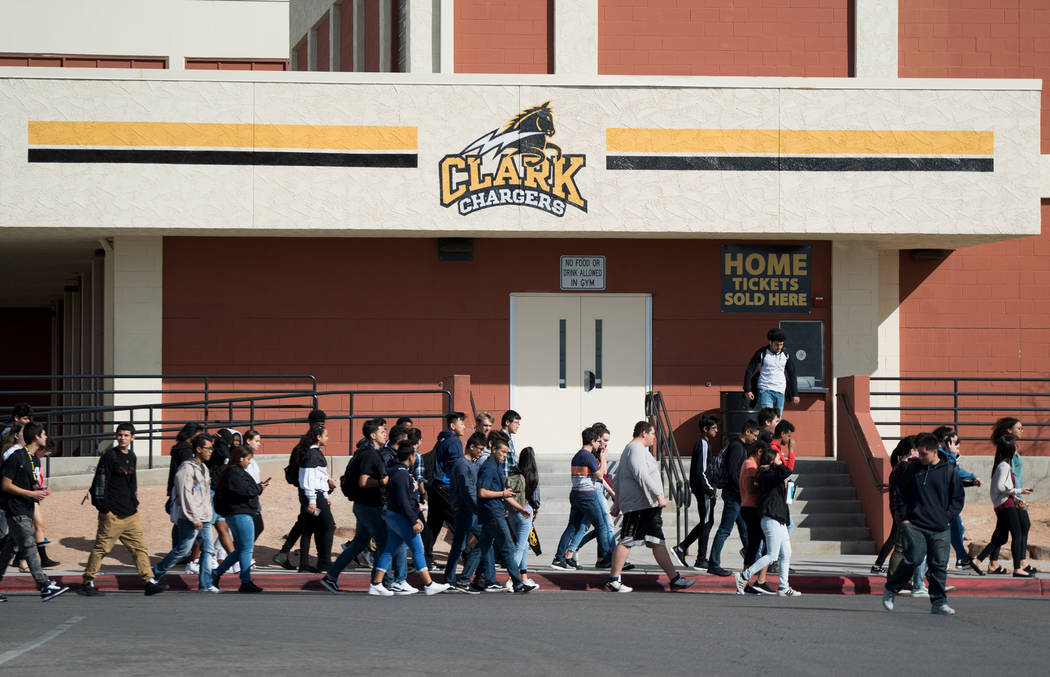 Students at Ed W. Clark High School in Las Vegas participate in the national walkout to protest gun violence.  14 March 2018