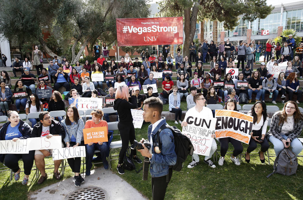 UNLV students gather after marching at their campus in Las Vegas on Wednesday, March 14, 2018 as part of a nationwide protest against gun violence. Bizuayehu Tesfaye/Las Vegas Review-Journal @bizu ...