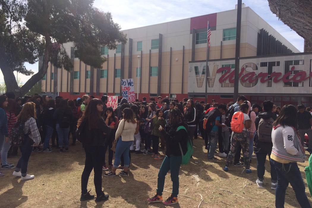 Student participate in a nationwide protest against gun violence at Western High School in Las Vegas on Wednesday, March 14, 2018. (Rose Sailcat)