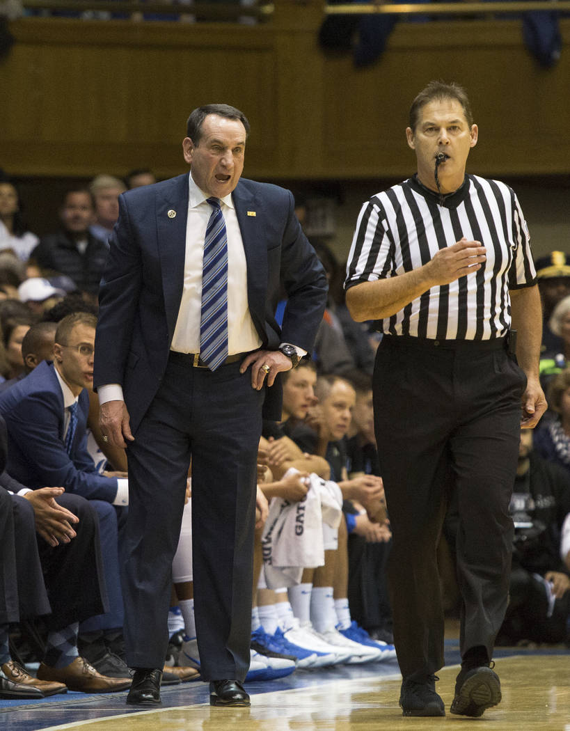 Duke Head Coach Mike Krzyzewski shouts towards an official during the first half of an NCAA college basketball game against North Carolina in Durham, N.C., Saturday, March 3, 2018. Duke defeated N ...