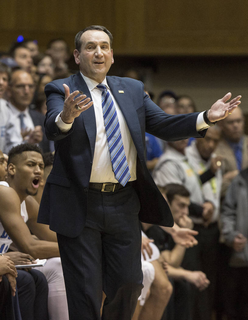 Duke Head Coach Mike Krzyzewski reacts to a call during the second half of an NCAA college basketball game against North Carolina in Durham, N.C., Saturday, March 3, 2018. Duke defeated North Caro ...