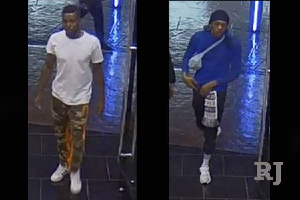 Police are looking for two suspects in a robbery of a retail shop on the Las Vegas Strip. (Las Vegas Metropolitan Police Department)