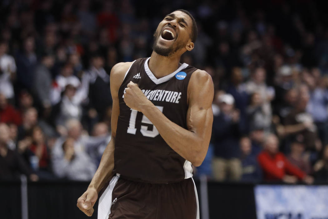 St. Bonaventure's LaDarien Griffin reacts during the second half of a First Four game of the NCAA men's college basketball tournament against UCLA, Tuesday, March 13, 2018, in Dayton, Ohio. St. Bo ...