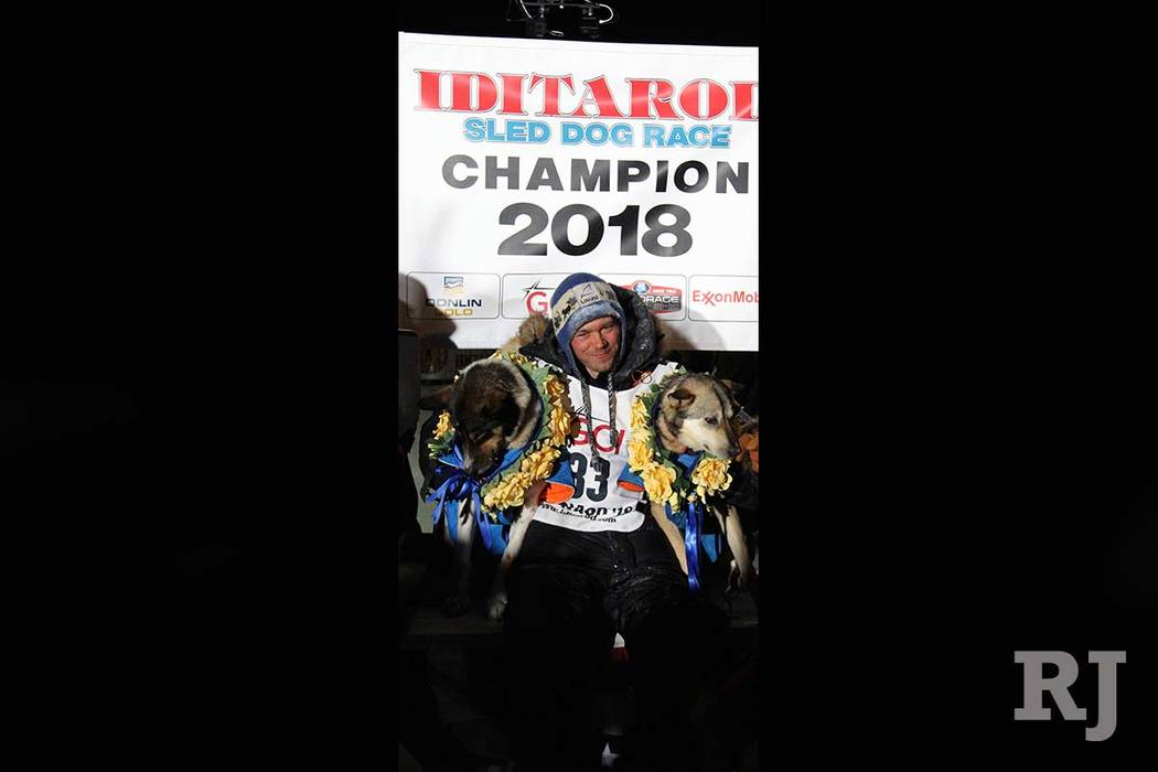 Joar Ulsom of Norway crossed the finish line first to win the 2018 Iditarod. (Diana Haecker/The Associated Press)