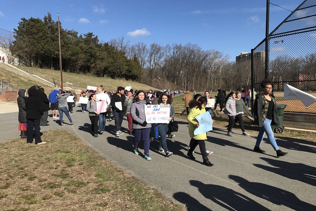 Students participate in National Walkout Day at Silver Spring International Middle School in Maryland on March 14, 2018. (Gary Martin/Las Vegas Review-Journal)
