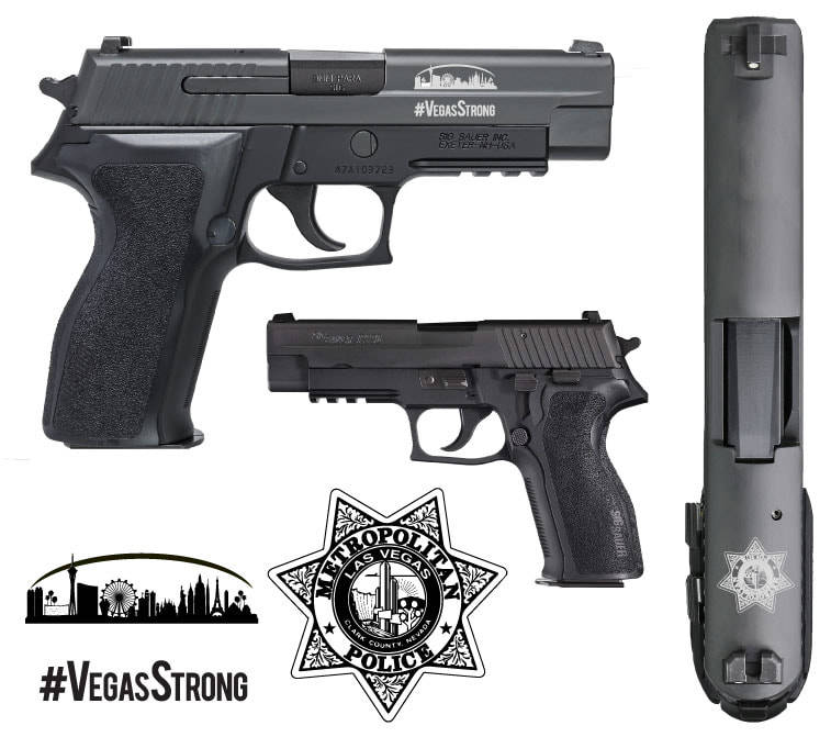 A custom Sig Sauer P226 was offered as a grand prize in the Las Vegas Metropolitan Police Department honor guard's fifth annual Scoot and Shoot fundraiser. (lasvegasmetrohonorguard.com)