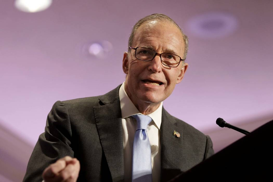 "Larry Kudlow speaks at the New York State Republican Convention in Rye Brook, N.Y., May 14, 2014. On Tuesday, March 13, 2018, President Donald Trump said he was looking ""very strongly"" at nami ..."