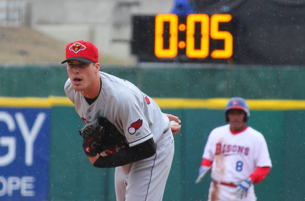 FILE - In this April 9, 2015, file photo, Rochester Red Wings pitcher Alex Meyer (32) looks in for a signal as a 20-second pitch clock is used for the Triple-A baseball opener between the Buffalo  ...