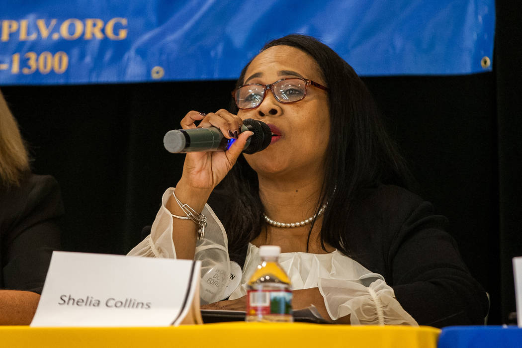 Candidate Sheila Collins speaks during a Ward 5 candidate forum at Democracy Prep at the Agassi Campus in Las Vegas on Saturday, March 10, 2018.  Patrick Connolly Las Vegas Review-Journal @PConnPie