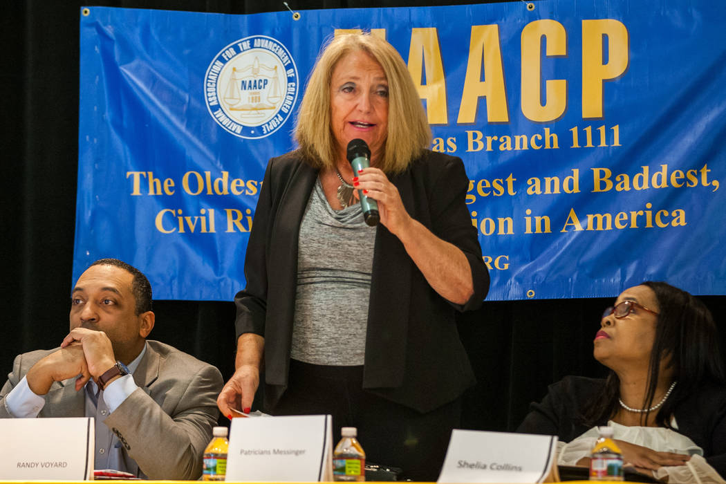 Candidate Patricia Messinger speaks during a Ward 5 candidate forum at Democracy Prep at the Agassi Campus in Las Vegas on Saturday, March 10, 2018.  Patrick Connolly Las Vegas Review-Journal @PCo ...