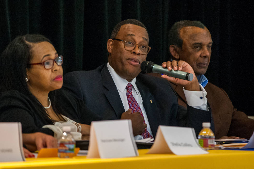 City council candidate Cedric Crear speaks during a Ward 5 candidate forum at Democracy Prep at the Agassi Campus in Las Vegas on Saturday, March 10, 2018.  Patrick Connolly Las Vegas Review-Journ ...
