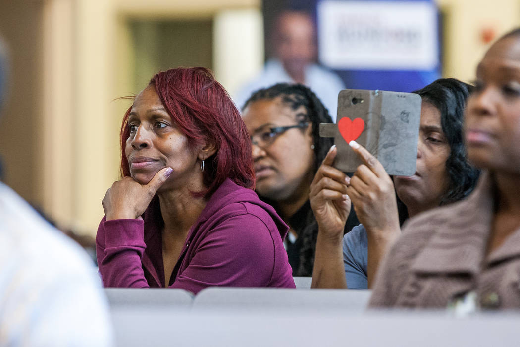 Attendees listen to candidates speak during a Ward 5 candidate forum at Democracy Prep at the Agassi Campus in Las Vegas on Saturday, March 10, 2018.  Patrick Connolly Las Vegas Review-Journal @PC ...