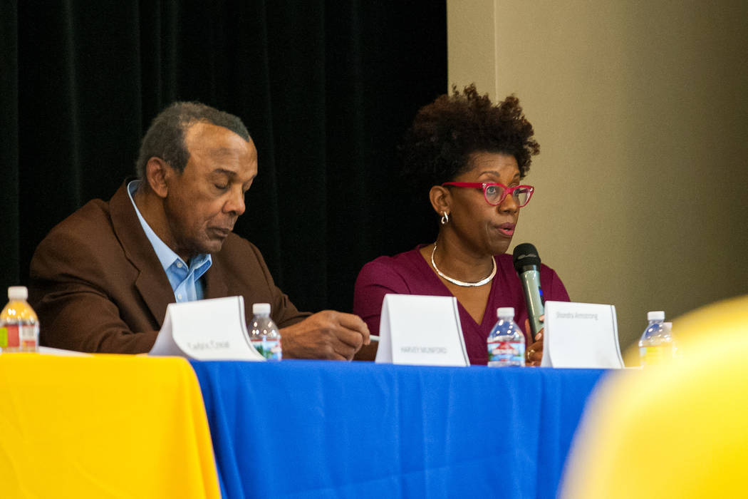 City council candidate Shondra Summers-Armstrong speaks during a Ward 5 candidate forum at Democracy Prep at the Agassi Campus in Las Vegas on Saturday, March 10, 2018.  Patrick Connolly Las Vegas ...