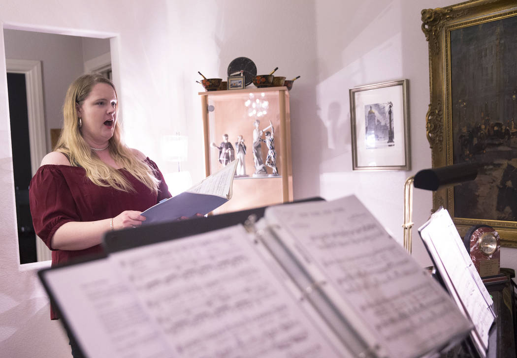 "Ashley Stone rehearses for Opera Las Vegas' ""Bravo, Bernstein!"" on Monday, March 12, 2018, at opera director Jim Sohre's home, in Las Vegas. Benjamin Hager Las Vegas Review-Journal @benj ..."