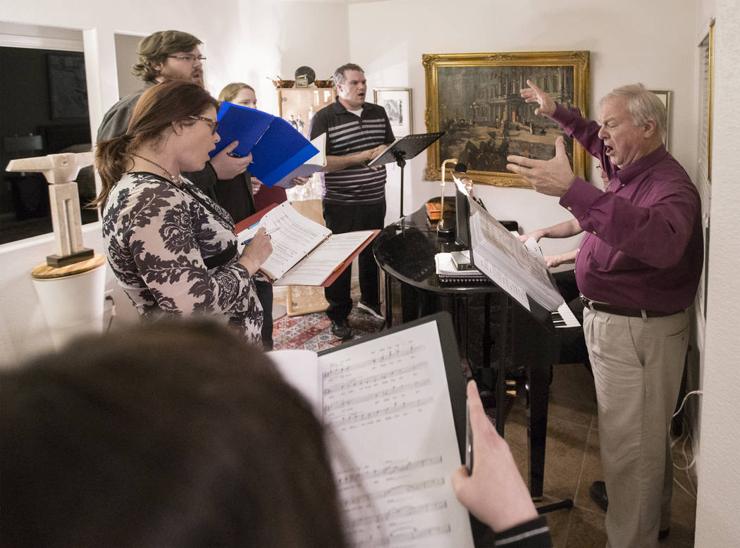 "Director Jim Sohre, right, leads rehearsal for Opera Las Vegas' ""Bravo, Bernstein!"" on Monday, March 12, 2018, at Sohre's home, in Las Vegas. Benjamin Hager Las Vegas Review-Journal @benjaminhphoto"