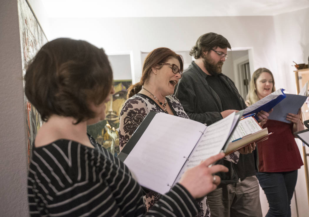 "Marcie Ley, second from left, rehearses with fellow Opera Las Vegas singers for ""Bravo, Bernstein!"" on Monday, March 12, 2018, at Sohre's home, in Las Vegas. Benjamin Hager Las Vegas Rev ..."