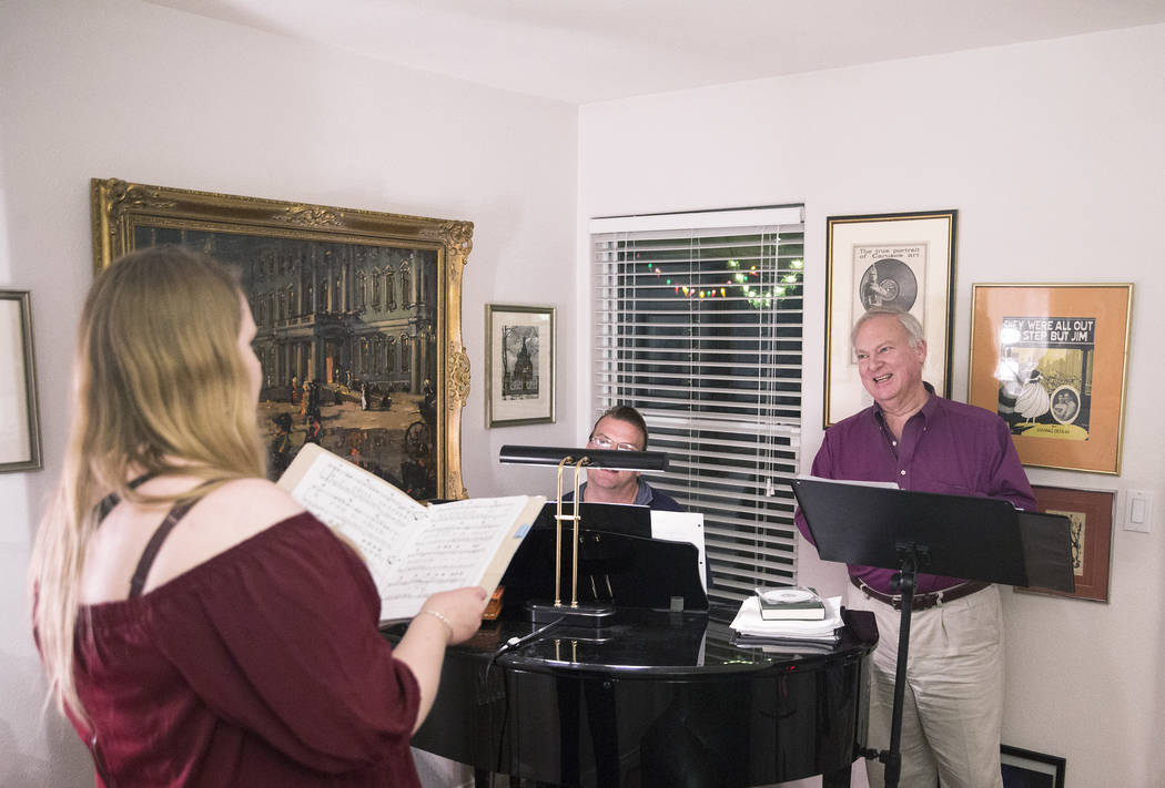 """Director Jim Sohre, right, gives notes to Ashley Stone, left, during rehearsal for Opera Las Vegas' """"Bravo, Bernstein!"""" on Monday, March 12, 2018, at Sohre's home, in Las Vegas. Benjamin ..."""