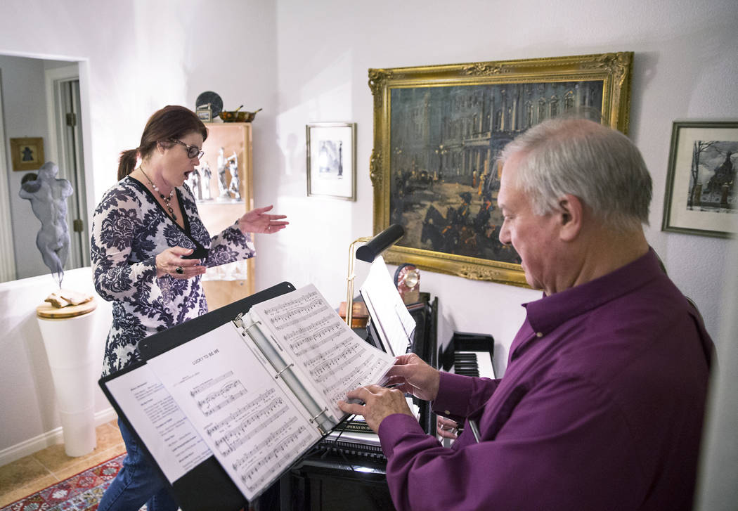 "Marcie Ley, left, rehearses with director Jim Sohre for Opera Las Vegas' ""Bravo, Bernstein!"" on Monday, March 12, 2018, at Sohre's home, in Las Vegas. Benjamin Hager Las Vegas Review-Jou ..."