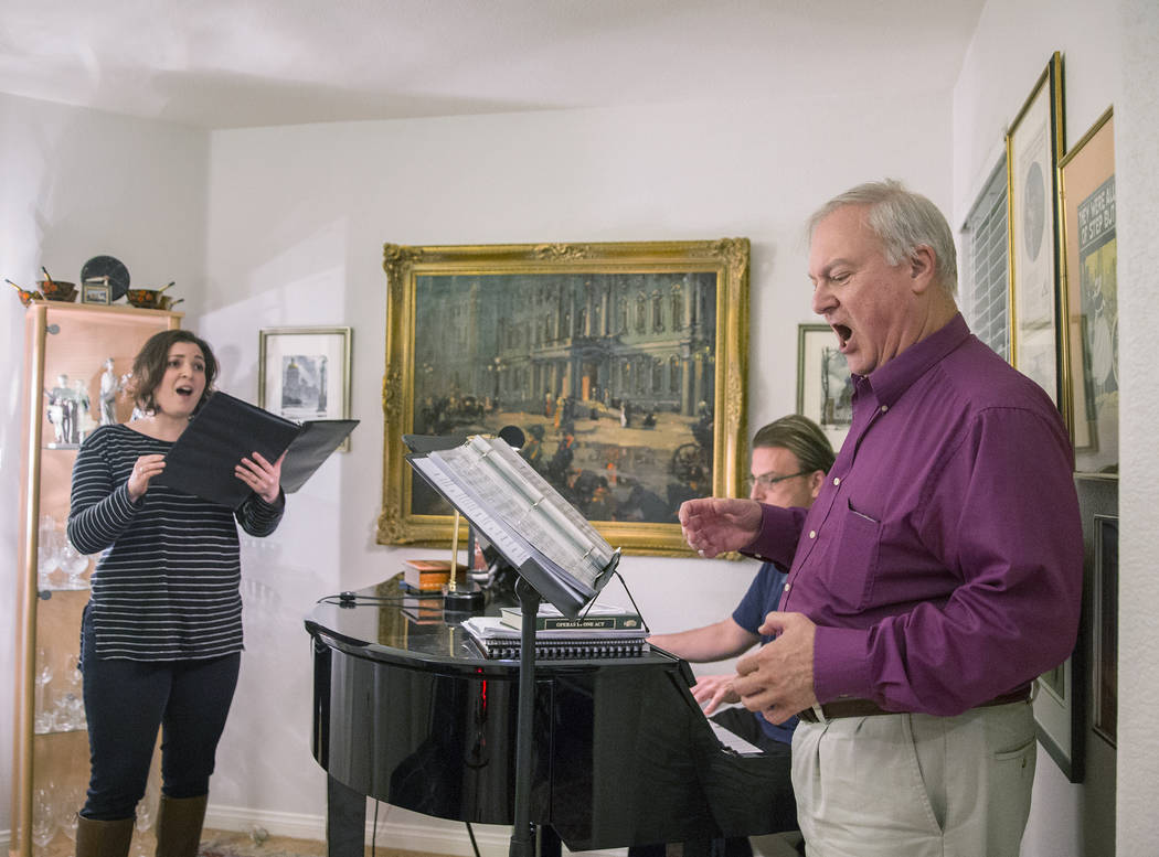 "Director Jim Sohre, right, rehearses with Athena Mertes for Opera Las Vegas' ""Bravo, Bernstein!"" on Monday, March 12, 2018, at Sohre's home, in Las Vegas. Benjamin Hager Las Vegas Review-Journal @ ..."