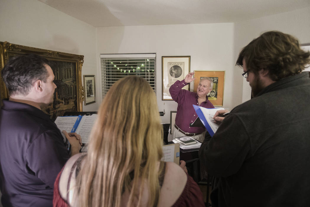 "Director Jim Sohre, third from left, leads rehearsal for Opera Las Vegas' ""Bravo, Bernstein!"" on Monday, March 12, 2018, at Sohre's home, in Las Vegas. Benjamin Hager Las Vegas Review-Jo ..."
