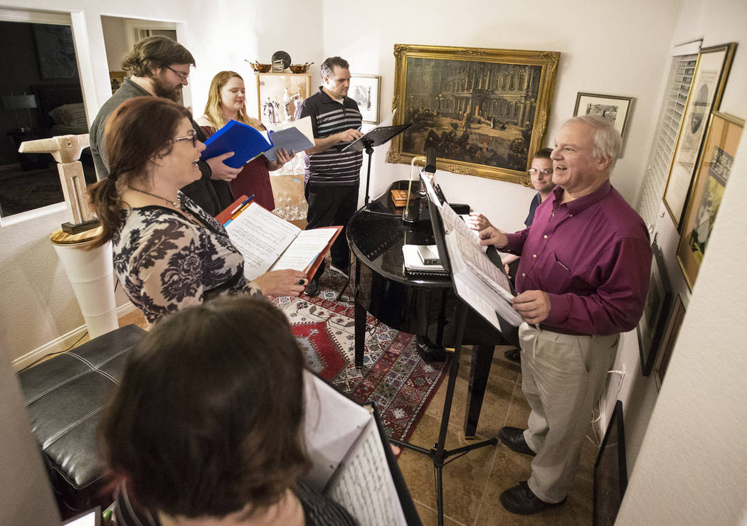 "Director Jim Sohre, right, gives notes to Marcie Ley, left,  during rehearsal for Opera Las Vegas' ""Bravo, Bernstein!"" on Monday, March 12, 2018, at Sohre's home, in Las Vegas. Benjamin  ..."