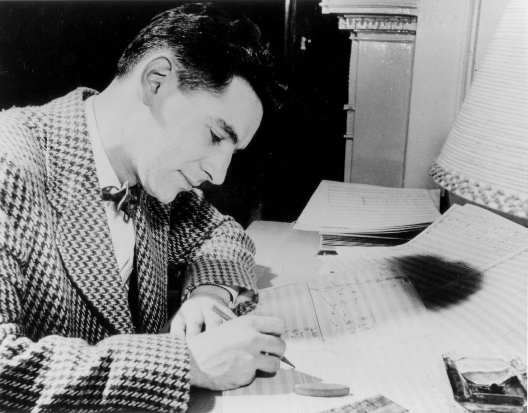 Leonard Bernstein Office Composer Leonard Bernstein at work in the early stages of his career.